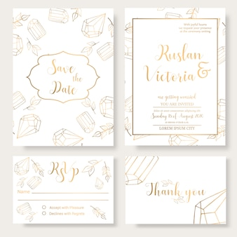Wedding invitation template with golden decorative elements and jewerly