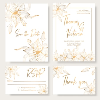 Wedding invitation template with golden decorative elements.