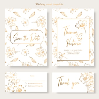 Wedding invitation template with golden decorative elements