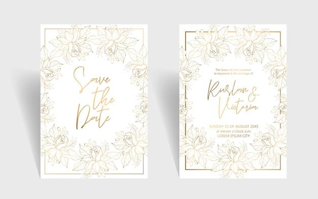 Шаблон свадебного приглашения с золотыми декоративными элементами