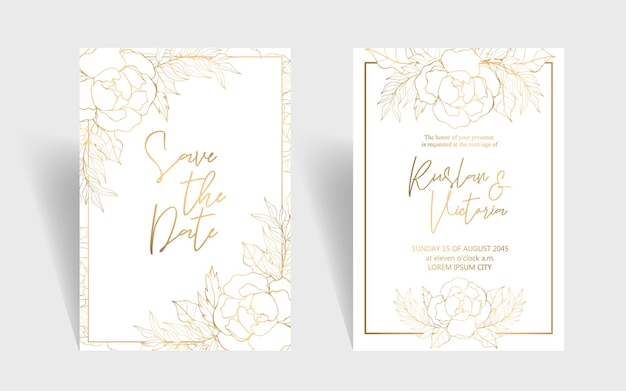 Wedding invitation template with golden decorative flowers and leaves