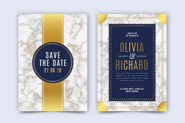 Wedding invitation template with golden details
