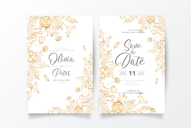 Wedding invitation template with golden nature