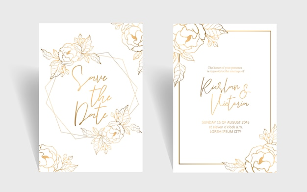 Wedding invitation template with golden peonies and leaves