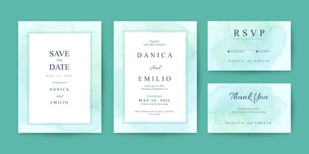 Wedding invitation template with green watercolor background