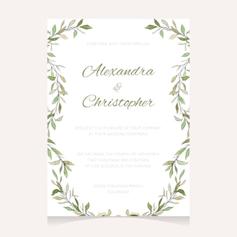 Wedding invitation template with green watercolor leaves