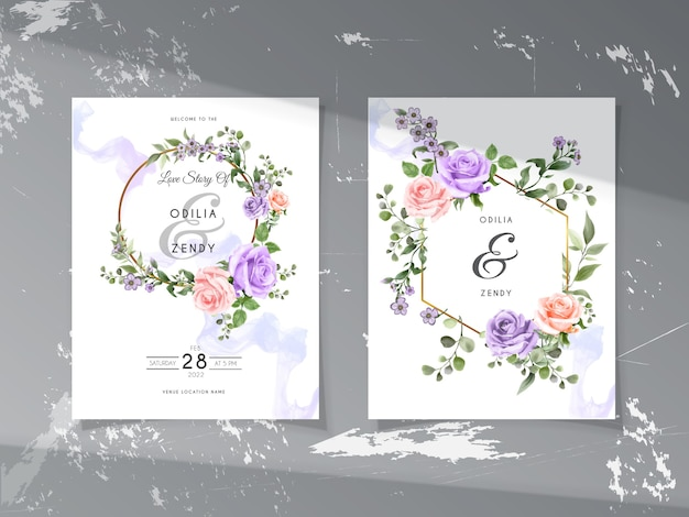 緑と美しい手描きの花柄の結婚式の招待状のテンプレート