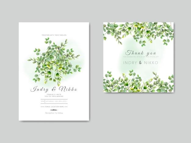 Шаблон свадебного приглашения с зеленью акварель эвкалипт