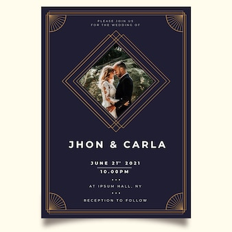 Wedding invitation template with groom and bride