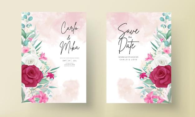 손으로 그린 아름다운 꽃 프레임 결혼식 초대장 템플릿