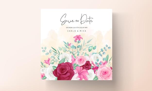 手描きの美しい花のフレームと結婚式の招待状のテンプレート