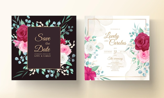 Wedding invitation template with hand drawn beautiful flower frame