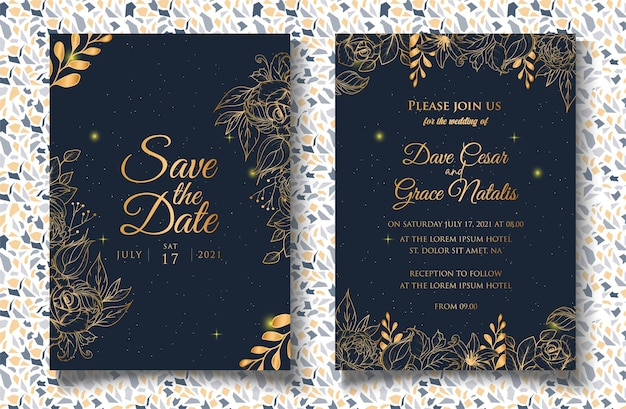 Wedding invitation template with hand drawn floral decoration