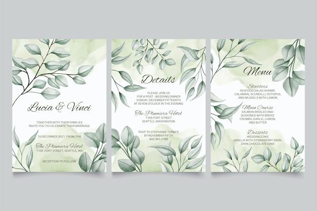 손으로 그린 녹색 잎 배경으로 결혼식 초대장 서식 파일