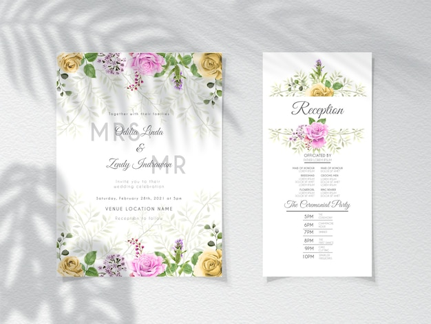 手描きのバラと結婚式の招待状のテンプレート