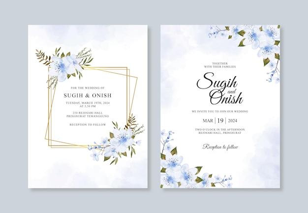 Шаблон свадебного приглашения с рисованной акварелью цветочным