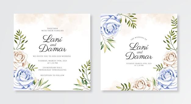 水彩花柄の手描きの結婚式の招待状のテンプレート