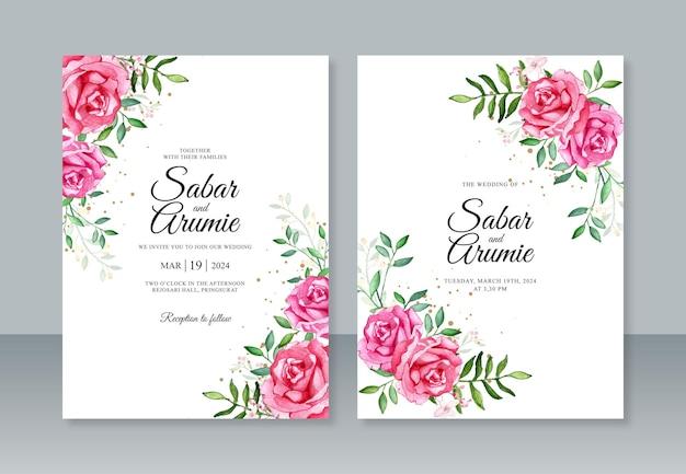 손으로 그린 수채화 꽃 결혼식 초대장 템플릿
