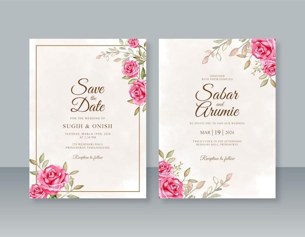 水彩のバラを手描きで結婚式の招待状のテンプレート