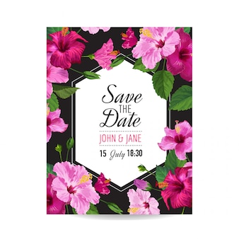 Wedding invitation template with hibiscus flowers