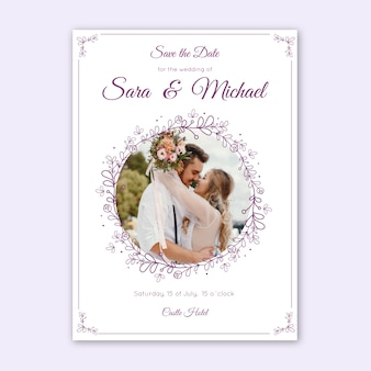 Wedding invitation template with image