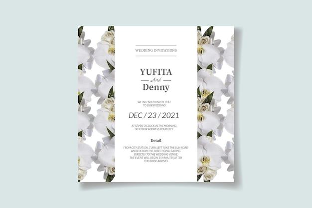 ジャスミンの花の装飾と結婚式の招待状のテンプレート