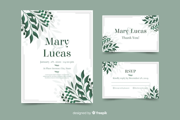Wedding invitation template with leaves