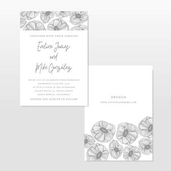 Wedding invitation template with line art flowers decoration