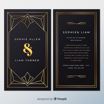 Wedding invitation template with lovely art deco concept