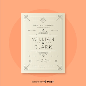 Wedding invitation template with lovely art deco design