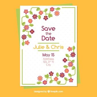 美しい花と結婚式の招待状のテンプレート