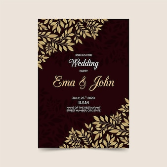 Wedding invitation template with luxurious elements