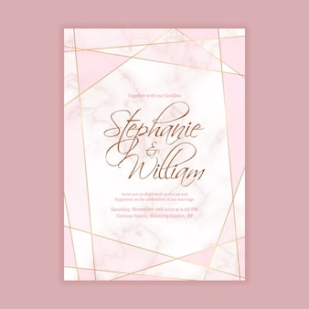 Wedding invitation template with marble background and geometric shape in golden line