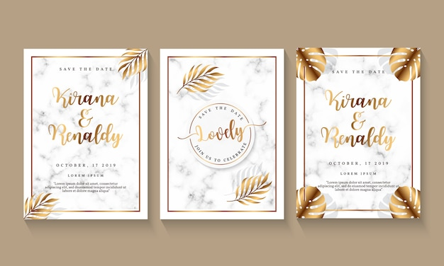 Wedding invitation template with marble design and botanical element