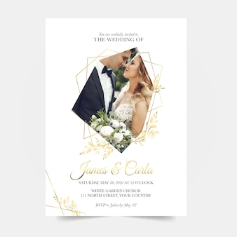 Wedding invitation template with married couple