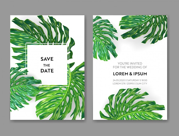 Wedding invitation template with monstera palm leaves.