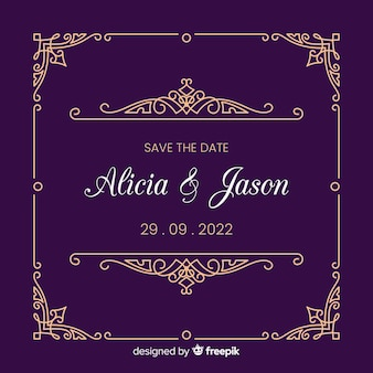 Wedding invitation template with ornaments