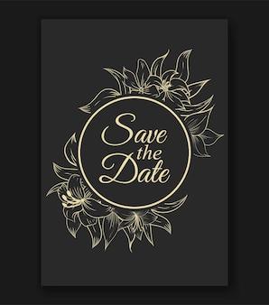 アウトライン手描き花の結婚式の招待状のテンプレート