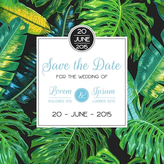 Wedding invitation template with palm leaves tropical card