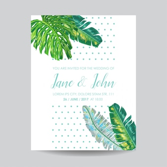 Wedding invitation template with palm leaves