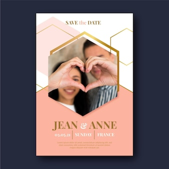 Wedding invitation template with partners photo