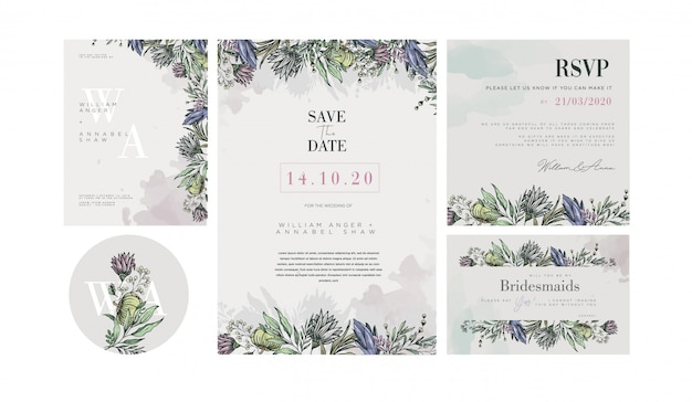Wedding invitation template with pastel vintage flower decorations