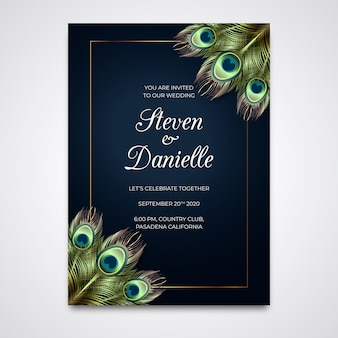 Wedding invitation template with peacock feathers