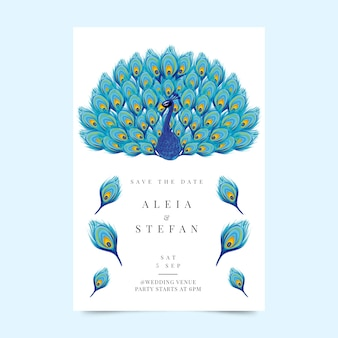 Wedding invitation template with a peacock