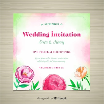 Wedding invitation template with peony flowers concept