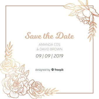 Wedding invitation template with peony flowers