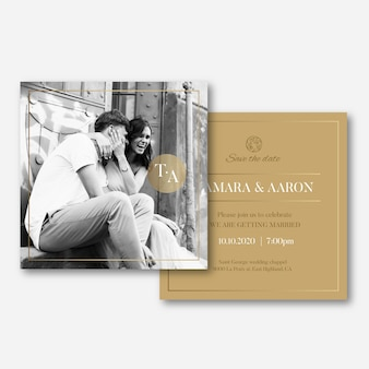 Wedding invitation template with photo concept