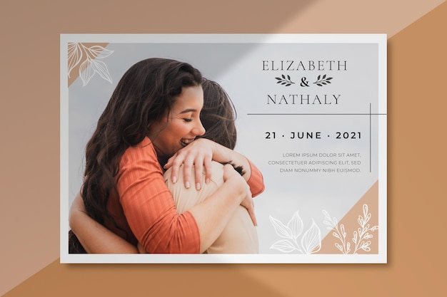 Wedding invitation template with photo of couple hugging