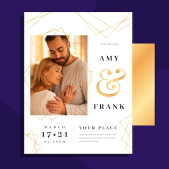 Wedding invitation template with photo of couple