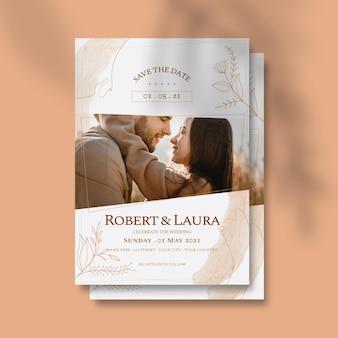 커플의 사진과 함께 결혼식 초대장 서식 파일